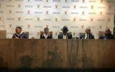 Police Minister Bheki Cele (centre) and the security cluster ministers brief the media on the state of readiness for the 8 May elections. Picture: @SAgovnews/Twitter
