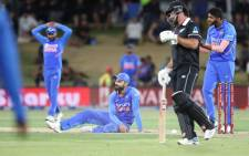 India's Virat Kohli (C) reacts to a missed opportunity during the third one-day international cricket match between New Zealand and India at the Bay Oval in Mount Maunganui on 11 February 2020. Picture: AFP