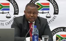 A screengrab of MNS Attorneys' Thobani Mnyandu appearing at the state capture inquiry on 31 May 2019.