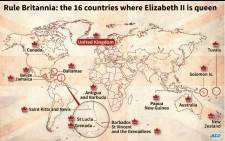 World map locating the 16 countries where Elizabeth II is queen.