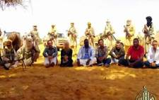 This Al-Andalus image grab taken from a video released shows hostages seized two weeks ago in Niger by Al-Qaeda in the Islamic Maghreb. Picture: AFP