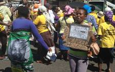 Women take part in a housing protest in the Cape Town CBD on 5 February 2014. Picture: Lauren Isaacs/EWN.