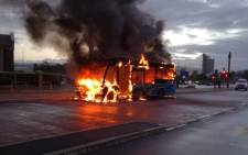 A MyCiTi bus on fire at a bus station along Racecourse Road in Milnerton on 6 November 2018. Picture: One Second Alerts