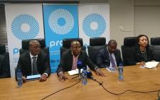 FILE: Collins Letsoalo (centre) and Prasa executives during a media briefing in Cape Town. Picture: Twitter/€@PRASA_Group.