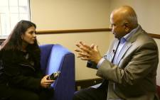 Former Finance Minister Pravin Gordhan talks to EWN reporter Gia Nicolaides during an interview on 31 July, 2017. Picture: Christa Eybers/EWN