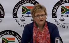 YouTube screengrab of Treasury's former deputy director-general in the Free State, Anna Sussana Fourie, giving evidence at the state capture inquiry on 12 August 2019.