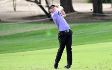 Joachim B. Hansen of Denmark plays a shot during the second round of the Omega Dubai Desert Classic at the Emirates Golf Club in Dubai on January 24, 2020. Picture: AFP