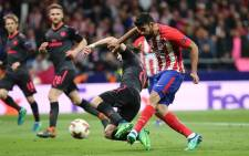 Atletico Madrid's Diego Costa has a shot on goal against Arsenal during their UEFA Europa League semi-final second leg match on 3 May 2018. Picture: @atletienglish/Twitter