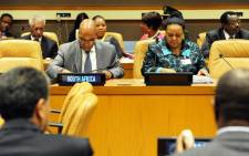 President Jacob Zuma is joined by Minister of Environmental Affairs Edna Molewa on 22 September 2014 at the African Heads of State/Government preparatory meeting for the UN Secretary-General's Climate Summit. Picture: GCIS.