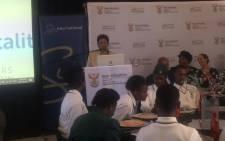 Basic Education Minister Angie Motshekga at the Tembisa High School. Picture: Thando Kubheka/EWN.