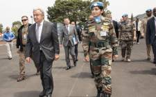 United Nations secretary-general Antonio Guterres (L) on his three-day tour of Democratic Republic of Congo. Picture: @antonioguterres/Twitter.