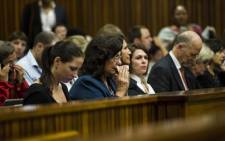 Family members of Oscar Pistorius at the High Court in Pretoria on 7 March 2014. Picture: Pool.
