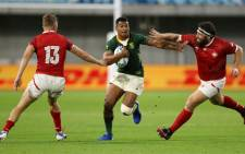 South Africa's Damian Willemse runs at the Canadian defence during their Rugby World Cup match in Kobe, Japan on 8 October 2019. Picture: @Springboks/Twitter