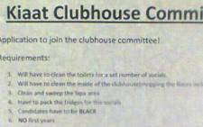An apparent racist poster posted at the University of Pretoria's Kiaat residence. Picture: EWN.