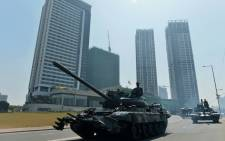 FILE: A Sri Lanka Army tank takes part in an Independence Day parade rehearsal in Colombo on 2 February 2018. Picture: AFP.