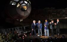 Harrison Ford, George Lucas, Billy Dee Williams, Mark Hamill and Bob Iger attend the Star Wars: Galaxy's Edge Media Preview at the Disneyland Resort on May 29, 2019 in Anaheim, California. Picture: AFP