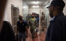Accused military veterans in connection of the hostage situation with cabinet ministers at Pretoria Magistrates Court in Kgosi Mampuru II correctional services on 18 October 2021. Picture: Pool/Jacques Nelles.
