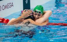 South Africa's Tatjana Schoenmaker (right) celebrates her second-place finish in the 100m breaststroke final at the 2020 Olympic Games in Tokyo on 27 July 2021. Picture: Anton Geyser/SASPA/SASI