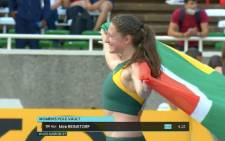 South Africa's Mirè Reinstorf  at the World Athletics U20 Championships in Nairobi, Kenya. Picture: @NelsonCarterJr/Twitter.