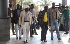 Union members arrive at the Rustenburg Civic Centre, for talks about the Lonmin wage impasse. Picture: Taurai Maduna/EWN.