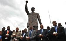 President Zuma, joined by Minister Martins and Free State Premier Magashule, during the unveiling ceremony of the Mandela statue in Naval Hill, Bloemfontein in the Free State. Picture: GCIS