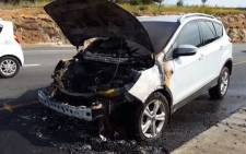 FILE: A screengrab of the Ford Kuga vehicle that caught alight on the N12 near the Voortrekker off-ramp in Alberton.