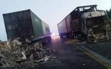 FILE: Seven trucks were set alight by unknown suspects in the early hours of Thursday 28 March 2019 on the N3 near Mooi River. Picture: Supplied