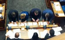 Ivan Meyer, Helen Zille and Ferlon Christians are sworn into the provincial legislature on 21 May 2014. Picture: Graeme Raubenheimer/EWN.