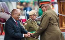 President Jacob Zuma hands over a medalat the SS Mendi memorial services in Durban.Picture: Thomas Holder/EWN