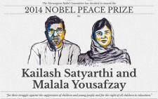 The Nobel Prize 2014 in Peace has been awarded to Indian Kailash Satyarthi and Pakistani Malala Yousafzay on 10 October 2014. Picture: @ Nobel Peace Prize via Twitter.