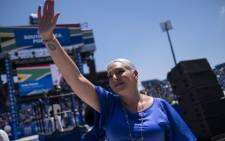 FILE: DA Member of Parliament Natasha Mazzone gestures as she greets the crowd at the Democratic Alliance (DA) manifesto launch at the Rand Stadium in Johannesburg on 23 February 2019. Picture: AFP