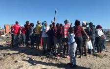 A group of disgruntled Vrygrond residents protesting for a piece of vacant land on 17 April 2018. Picture: Cindy Archillies/EWN