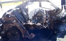 Six people including four children have died after the vehicle they were travelling in crashed into a pillar before the car caught alight. Picture: ER24