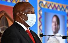 President Cyril Ramaphosa delivers the eulogy at a special official memorial service for amaZulu King Goodwill Zwelithini in Nongoma, KwaZulu-Natal on 18 March 2021. Picture: GCIS