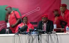 EFF leaders Julius Malema, Floyd Shivambu and Dali Mpofu address media at the IEC national election results centre in Pretoria on 10 May 2014. Picture: Masego Rahlaga/EWN.