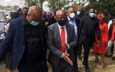 EFF leader Julius Malema, flanked by the top brass of his party, arrive at the KwaKhethomthandayo royal palace in Nongoma, KwaZulu-Natal on 16 March 2021 to pay their respects to the Zulu royal family following the passing of AmaZulu King Goodwill Zwelithini. Picture: Nkosikhona Duma/Eyewitness News