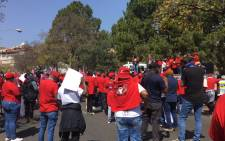 Nehawu members gathered outside the Union Buildings in Pretoria on 3 September 2020 to hand over their list of demands on the union's national day of action. Picture: Kgomotso Modise/EWN