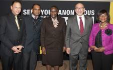 Head of Crime Line, Yusuf Abramjee; Primedia CEO, Kuben Pillay; National Police Commissioner, General Riah Phiyega; Minister in the Presidency, Trevor Manuel and Public Protector, Thuli Madonsela. Picture: Crime Line