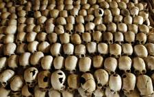 FILE: Skulls of victims of the Ntarama massacre during the 1994 genocide are stacked in the Genocide Memorial Site church of Ntarama, in Nyamata in Rwanda. Picture: AFP