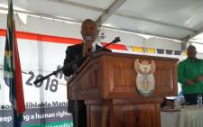 Deputy President David Mabuza speaking at a Human Rights Day event in Sharpeville. Picture: Masego Rahlaga/EWN.