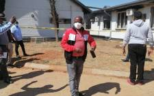 North West MEC Madoda Sambatha (left) at the Christiana Hospital on 8 September 2021 to assess the level of damage caused by a fire on the same day. Picture: @NorthWestDOH/Twitter