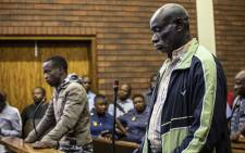 Ernest Mabaso and Fita Khupe at their second court appearance on 12 November 2018 in the Lenasia Magistrates Court. The two face charges of murder and theft. Picture: Abigail Javier/EWN