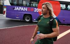 South Africa's Faf de Klerk arrives for a training session at the Arcs Urayasu Park in Urayasu, Chiba Prefecture on 16 September 2019, ahead of the Japan 2019 Rugby World Cup. Picture: AFP