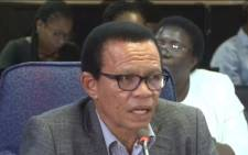 A screenshot of Lawrence Mrwebi testifying at the Mokgoro Inquiry on 20 February 2019. Picture: SABCNews/Youtube