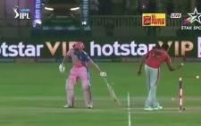 A screengrab of Indian spinner Ravichandran Ashwin runs out Jos Buttler during their IPL match.
