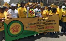 ANCYL leaders and supporters march to Absa Towers in the Johannesburg CBD. Picture: Kgothatso Mogale/EWN.