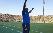 Mamelodi Sundowns coach Pitso Mosimane celebrates after his team won against Egypt's Zamalek, at the CAF final at the Lucas Moripe Stadium near Pretoria on 15 October 2016. Picture: Sundowns Twitter: @Masandawana
