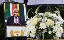 A portrait of Jackson Mthembu at his funeral on 24 January 2021 in Emalahleni. Picture: GCIS.