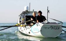 Riaan Manser and Vasti Geldenhuys in their kayak – the Spirit of Madiba – which they're rowing from north Africa to New York City. Picture: Supplied.