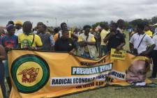 The KwaZulu-Natal ANCYL members gathering at the Durban Beachfront Promenade ahead of their march in support of President Jacob Zuma. Picture: Ziyanda Ngcobo/EWN.